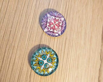 set of two 20 mm glass cabochons
