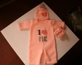 Combination + booties + hat for newborn/1 month salmon acrylic umon embroidered