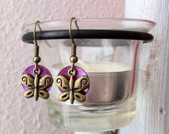 Bronze sequins butterfly earrings