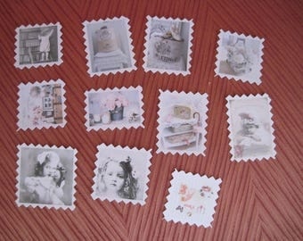 Set of 11 embellishments, tags, pictures, romantic, shabby, girl, suitcase, box