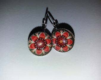 pattern 15 mandala glass cabochon earrings