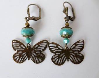 Stud Earrings turquoise beads and butterflies