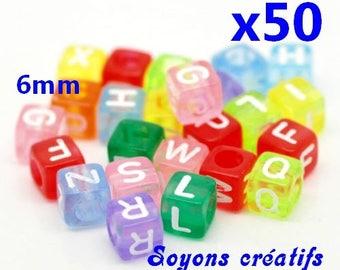 50 acrylic beads Alphabet cubes 6mm multicolored
