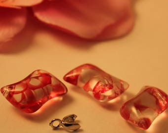 Set of 3 Charms charms 20mm red Crackle glass beads