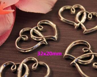 5 pendants, charm connector silver 2 hearts - SK03271.