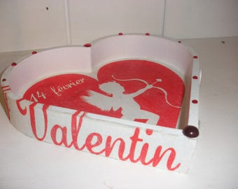 Valentine's day, tray wooden heart decorated Angel