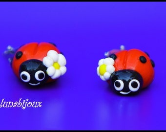 polymer clay earring chip Ladybug gift anniversary