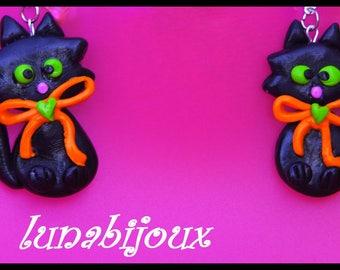 polymer clay black cat Halloween earring