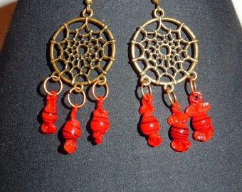 """Earrings """"catches - sweets"""" copper and Red"""