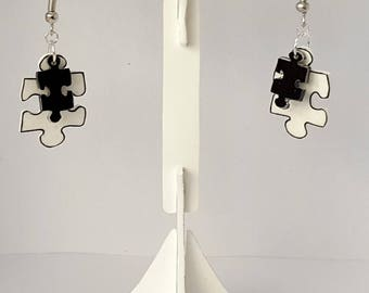 Puzzle shrink plastic earrings
