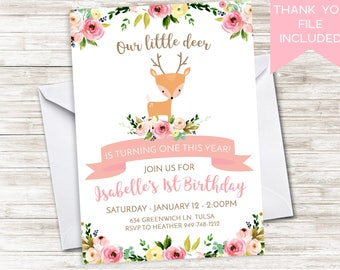 Deer First Birthday Invite Invitation Digital 1st 5X7 Floral Watercolor Flowers Girls Doe Antlers Wild One