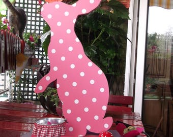Pink Bunny lamp and Nightlight kids wooden