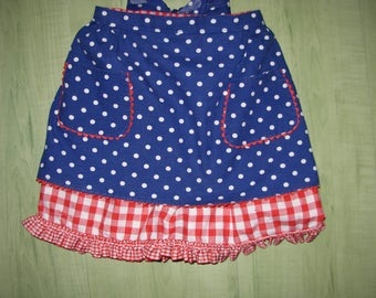 Girl in red and white Plaid cotton skirt