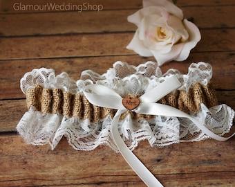 Wedding Garter Burlap Garter Bridal Garter White Lace Garter Lace Wedding Garter Rustic Wedding Garter