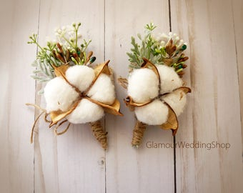Wedding boutonniere etsy cotton blossom boutonniere wedding boutonniere rustic boutonniere grooms boutonniere cotton ball boutonniere country wedding junglespirit Image collections