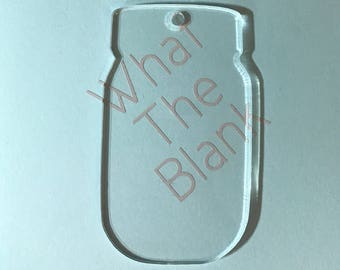 "Mason Jar Acrylic Keychain Blank, 3"""