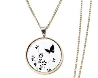 Necklace flowers Butterfly black white cabochon ● ●