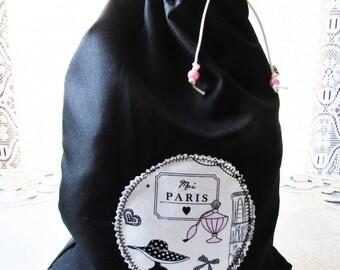 """Bag waterproof scenes, slippers, 34 x 26 cm, black waterproof bag, girly """"Moi Paris"""" pattern, laundry bag, handmade pool bag"""