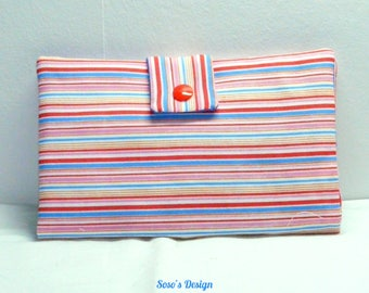 Wallet with red, blue and pink stripes