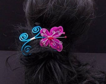 Hair comb pink and blue