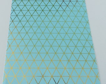 repositionable adhesive fabric coupon 15 x 21 cm Blue with gold triangle