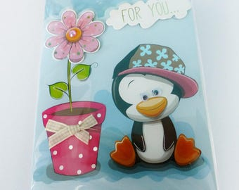 folded card in 3D with pearls eyes pinguoin mobile and assorted color envelope