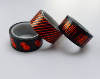 3 Washi tape black and orange metallic washi