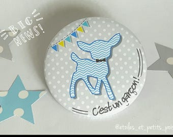 magnet Fawn grey background with dots 'it's a boy'