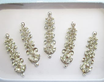 5 Silver Long Face Jewels,Wedding Bindis,Stone Bindis,Silver Bindis,India Bindi Headpiece,Bollywood Bindis,Long Bindis,Face Tattoos Stickers