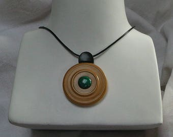 """All round"" boxwood turned ebony-malachite necklace"