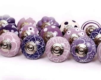 ON SALE Purple and White Ceramic Knobs/Knobs/Cabinet Knobs-/Dresser Knobs/Drawer Pulls/Knobs/Shabby Chic/Knob/Drawer Knobs/Nursery/Pulls