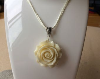 Ivory cream rose pendant on a cord necklace Handmade