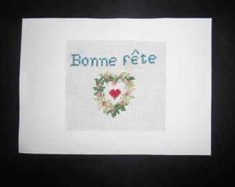 """Large hand embroidered card on canvas - """"Happy birthday"""""""