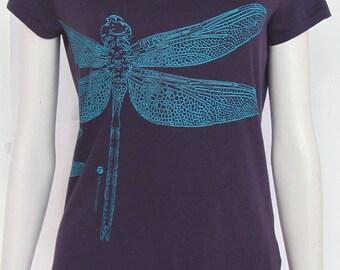 t-shirt woman printed Dragonfly green division, organic cotton, short sleeves, plum