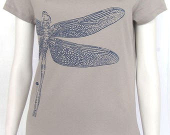 t-shirt woman printed Dragonfly green division, organic cotton, short sleeves, Pearl gray