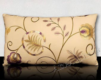 LUXURIOUS cushion rectangular DESIGN - fabric flowers and leaves Bohemian chic-purple/Gold/White/Green olive/yellow pearl.