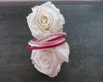 White and pink suede bracelet