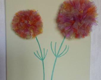 Invite two multicolored organza flowers