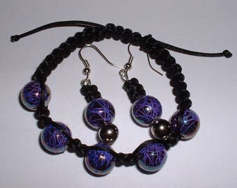 Shamballa style FORCE violet bracelet and earrings set