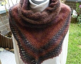 Soft knitted shawl hands in a dark brown brown alpaca yarn