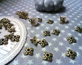X 50 bead caps / bead caps 4 brass 6 x 6 mm bronze leaves.