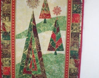 Panel quilting Christmas trees
