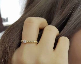 Beaded Stone Ring.  Available in 14k Gold filled , White Gold filled  or Rose Gold filled, 925 Sterling Silver