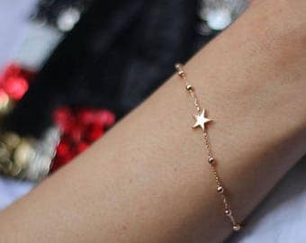 14K Gold Star Bracelet - Star Bracelet - 14k Gold Bracelet -   Available in 14k Gold, White Gold or Rose Gold