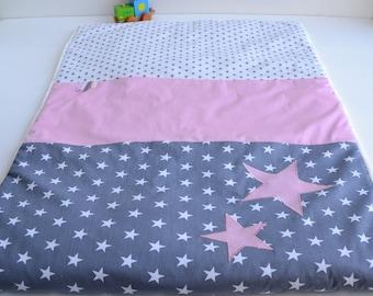 Plaid baby blanket handmade stars @lacouturebytitia pink and gray