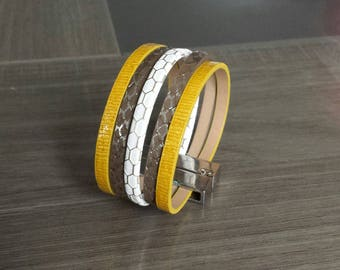 Yellow, Brown and white Cuff Bracelet