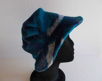 Woolen Hat boiled printed blue camouflage
