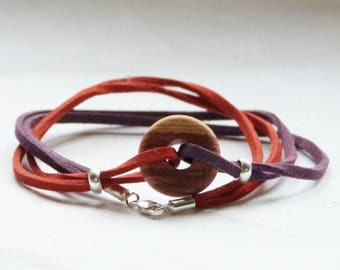 """Bracelet """"pink"""" women's wrap leather and sterling silver"""