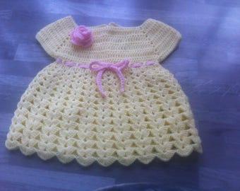 dress crochet handmade baby yellow straw and pink