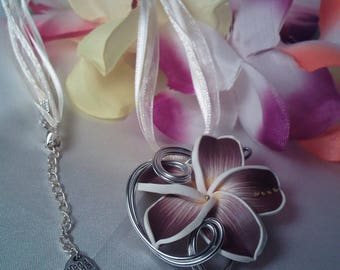 Plum and ivory plumeria Flower necklace